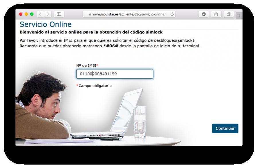 Movistar liberación por IMEI servicio online gratuito